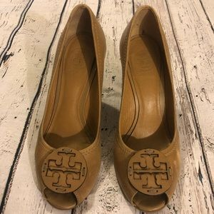 Tory Burch 6 Wedges Heels Shoes Brown Leather